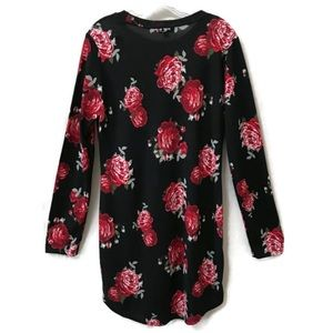 J FOR JUSTICE Long Sleeve Rose Print Shirt Dress